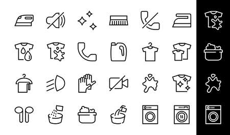 Simple set of washing related vector line Icons. Contains icons such as washing machine, powder, laundry, dirty t-shirt and much more. On a white background, editable stroke. 48x48 pixels perfect. 版權商用圖片 - 150879911