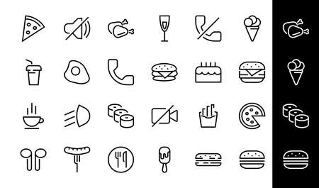 A simple set of fast food icons related to the vector line. Contains icons such as pizza, burger, sushi, bike, scrambled eggs and more. EDITABLE stroke. 480x480 pixels perfect, EPS 10. 版權商用圖片 - 150882803