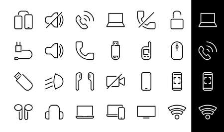 A set of smart devices and gadgets, computer hardware and electronics. Electronic devices icons for web and mobile vector lines. computer, telephone. Editable stroke. 48x48 pixels. 版權商用圖片 - 150922759
