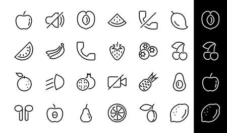 Fruit Icon Set, Vector lines, Contains icons such as apple, banana, cherry, lemon, watermelon, Avocado Editable stroke, 48x48 pixels, White background, eps 10. 版權商用圖片 - 150922760