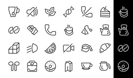 COFFEE and TEA LINEAR ICONS SET, contains Icons of tea, tea bag, Coffee machine, cake, sugar, teapot, cup, milk, cream, Lemon, chocolate bar, Editable stroke. 版權商用圖片 - 150884383