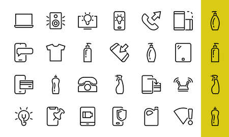 GADGET Set of vector icons of smart devices such as laptop, tablet, protection program, phone, digital network, thin line vector gadget icons, editable stroke. 向量圖像