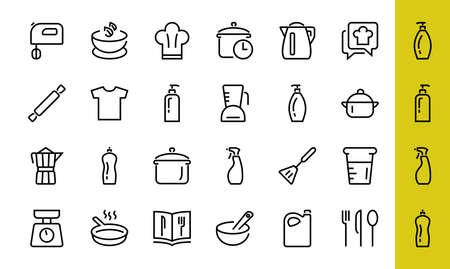 Set of icons for cooking and kitchen, vector lines, contains icons such as a knife, saucepan, boiling time, mixer, scales, recipe book. Editable stroke, perfect 480x480 pixels, white background. 版權商用圖片 - 150971497