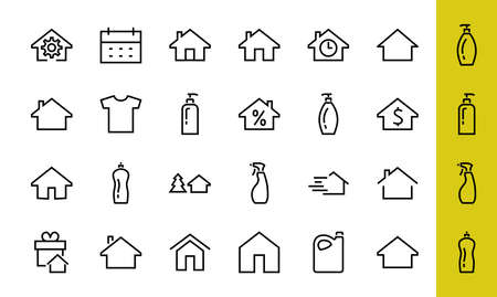 Simple set of line vector home icons. Contains house symbols at interest, infuse house and more. Editable stroke. 480x480 pixels perfect. 版權商用圖片 - 151018478