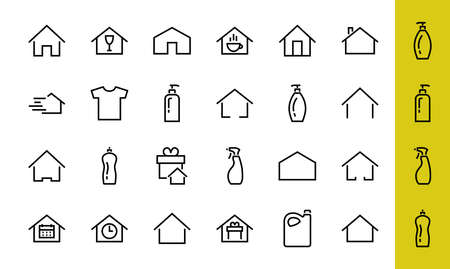 Simple set of color editable house icon templates. Contains such icons, home calendar, coffee shop and other vector signs isolated on a white background for graphic and web design. 版權商用圖片 - 151018477