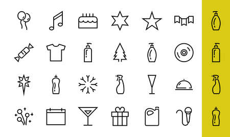 Simple set of celebration icons related to vector line. Contains icons such as music, new year, stars, balls, cake, karaoke, dj and much more. Editable stroke. 480x480. 版權商用圖片 - 150971471