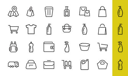 A simple set of bags, shopping and travel icons. Vector illustration Contains icons such as Card, wallet, shopping basket, discount, bowl, package. On a white background, editable stroke. 版權商用圖片 - 151018486