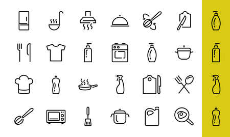 Set of cooking and kitchen icons, Vector lines, contains icons such as frying pan, frying, microwave, fork with spoon, Editable stroke, perfect 480x480 pixels, white background 版權商用圖片 - 150971809