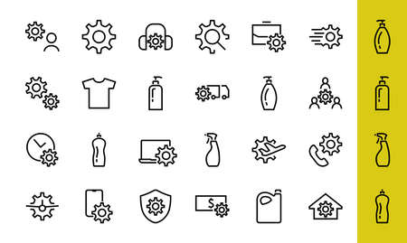 A simple set of settings and options related to Vector Line Icons. Contains icons such as set time, business, phone, and more. Editable Stroke.. 480x480. 版權商用圖片 - 150971687