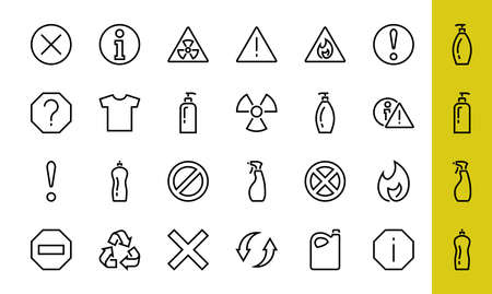 WARNINGS simple set of thin line vector icons. Contains icons such as warning, exclamation mark, reuse, warning sign and more. Editable stroke. Vector illustration. 版權商用圖片 - 151018488