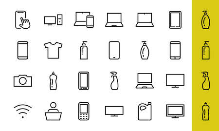 SMART devices and gadgets linear icons set, vector, contains icons computer, camera, laptop, phone, web devices, electronic appliances, and much more. Editable stroke 版權商用圖片 - 150972317