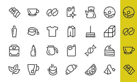 COFFEE and TEA LINEAR ICONS SET, contains Icons of tea, tea bag, Coffee machine, cake, sugar, teapot, cup, milk, cream, Lemon, chocolate bar, LINEAR ICONS Editable stroke 向量圖像