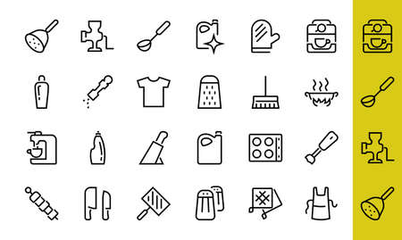 KITCHEN ICON Cooking process, Kitchen tools, Icon set, thin line vector has a blender, oven, knife, grater, barbecue, apron, barbecue, grill, coffee machine, kitchen glove, Editable stroke.