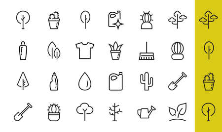 A set of Rosteniya Icons, and garden care, Vector illustration, Contains Icons such as tree, cactus, watering can, spade, flower and much more. on a white background, editable bar 480x480.