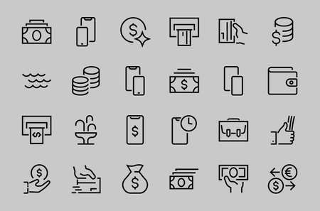 BUSINESS and FINANCE Thin Line Icon Set, contains icons such as Coins, Currency Exchange, Card Payment, Terminal and much more, Editable Line, Vector Illustration