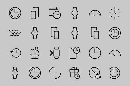 Simple set of time icon color editable template. Contains icons such as time check, speedometer calendar and other vector signs isolated on a white background for graphic and web design. 48x48 pixels