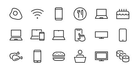SMART devices and gadgets linear icons set, vector, contains icons computer, camera, laptop, phone, web devices, electronic appliances, and much more. Editable stroke