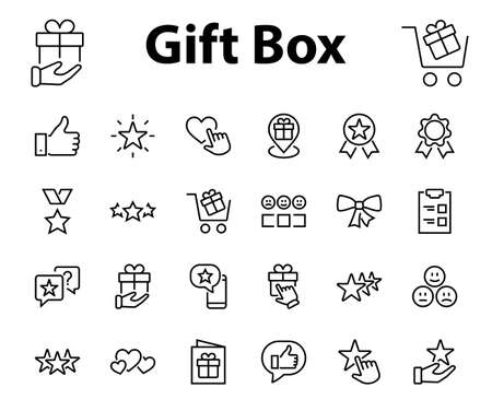 Simple Set Feedback, reviews thin line icons. Evaluation, review, STAR, LIKE and much more, Editable stroke. Vector illustration 矢量图像
