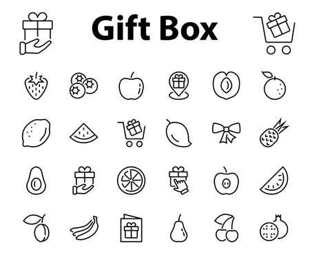 Fruit Icon Set, Vector lines, Contains icons such as apple, banana, cherry, lemon, watermelon, Avocado Editable stroke, 48x48 pixels, White background, eps 10 Ilustração