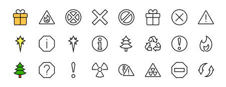 WARNINGS simple set of thin line vector icons. Contains icons such as warning, exclamation mark, reuse, warning sign and more. Editable stroke. Vector illustration