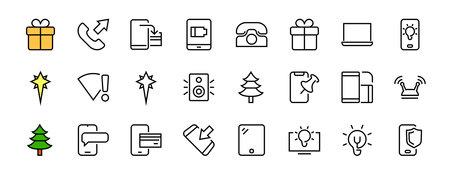 GADGET Set of vector icons of smart devices such as laptop, tablet, protection program, phone, digital network, thin line vector gadget icons, editable stroke. Illusztráció