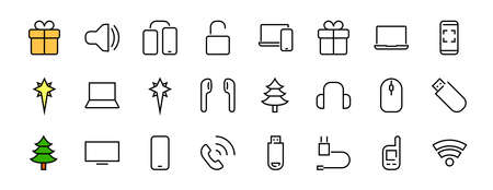 A set of smart devices and gadgets, computer hardware and electronics. Electronic devices icons for web and mobile vector lines. computer, telephone. Editable stroke. 48x48 pixels Illusztráció
