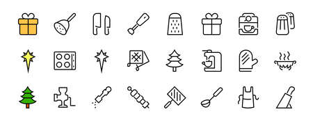 KITCHEN ICON Cooking process, Kitchen tools, Icon set, thin line vector has a blender, oven, knife, grater, barbecue, apron, barbecue, grill, coffee machine, kitchen glove, Editable stroke