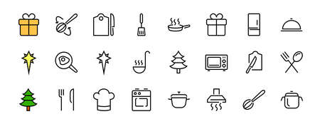 Set of cooking and kitchen icons, Vector lines, contains icons such as frying pan, frying, microwave, fork with spoon, Editable stroke, perfect 480x480 pixels, white background. Illusztráció