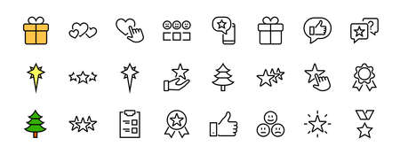 Simple Set Feedback, reviews thin line icons. Evaluation, review, STAR, LIKE and much more, Editable stroke. Vector illustration Illusztráció