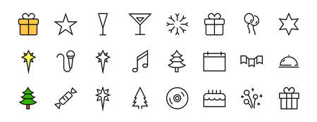 Simple set of celebration icons related to vector line. Contains icons such as music, new year, stars, balls, cake, karaoke, dj and much more. Editable stroke. 480x480 Illusztráció