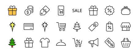 Black Friday Icon Set contains icons of Promotions, Discounts Shopping, Shopping Cart. Editable stroke. Vector Symbols, Linear Illusztráció