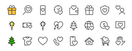 The set of icons about love contains such icons as love of music, declaration of love, heart, favorite home, Linear set. Vector on a white background. Editable stroke. 480x480 Illusztráció