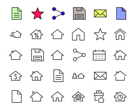 Simple set of line vector home icons. Contains house symbols at interest, infuse house and more. Editable stroke. 480x480 pixels perfect