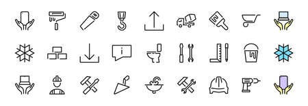 Set of construction icons, simple vector lines, contains the following icons: builder, roller, hammer with wrench, toilet bowl and much more. Editable stroke. 48x48 pixels perfect, white background