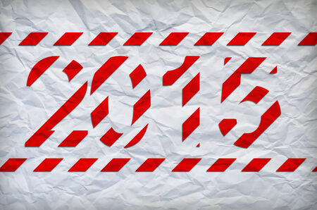 crumpled christmas paper. White and red stripes. Happy new year 2015 on pattern photo