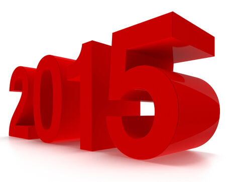 3D 2015 year. Glossy red figures on white background. Polygonal