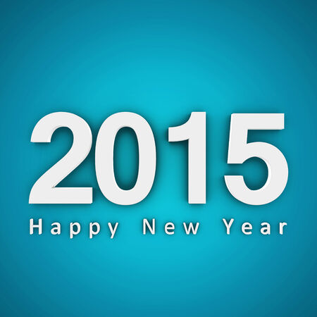 Happy new year 2015 on blue background.  3d