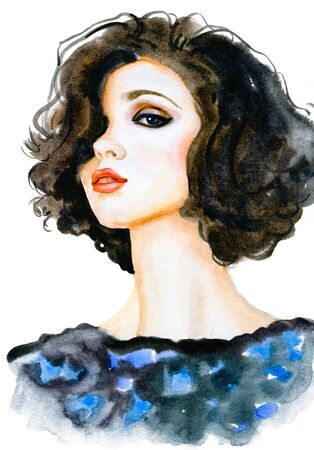 Modern Young female brunette portrait hand drawn watercolor illustration