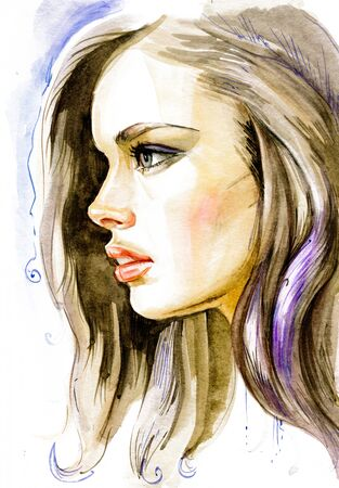 Modern Young blonde woman portrait hand drawn watercolor illustration 스톡 콘텐츠