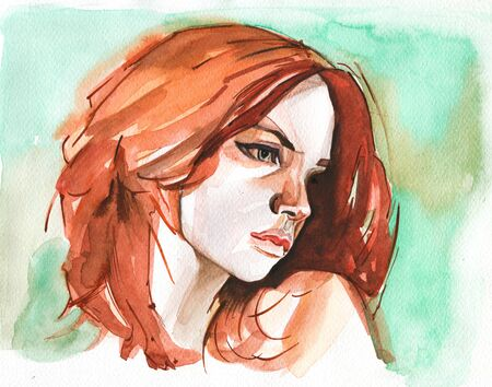 Modern Young red headed woman portrait hand drawn watercolor illustration