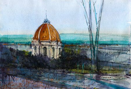 Small dome chapel hand drawn watercolor and ink illustration. Italian classic building in park aquarelle drawing. Hand drawn old church. European architecture watercolour background