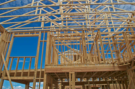 roof framing: House Construction Stock Photo