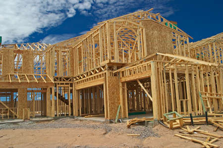 rafters: House Construction Stock Photo