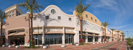 Outdoor Mall with Palms Stock Photo