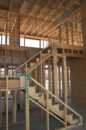 Staircase inside a house construction.