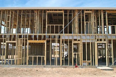 2x4: Framing of a two story house.