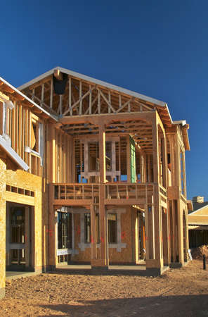 roof framing: House construction. Stock Photo