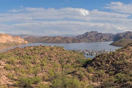 four peaks wilderness: Saguaro Lake Marina in Sonoran Desert.