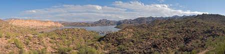 four peaks wilderness: Saguaro Lake panorama Stock Photo