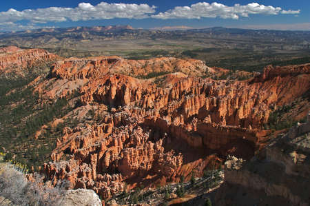 hoodoos: Hoodoos in Bryce Canyon with panoramic view of Escalante.
